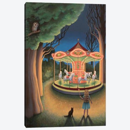 Nightime Carousel Canvas Print #AKE27} by Antoinette Kelly Canvas Art
