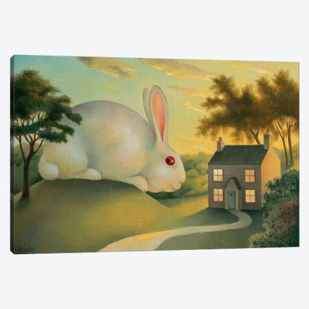 Big Bunny Is Watching You Canvas Print #AKE3} by Antoinette Kelly Canvas Wall Art