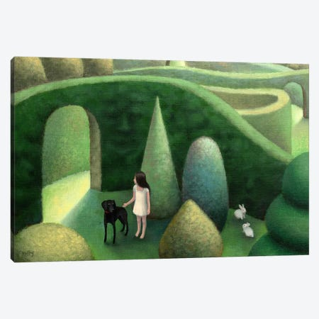 Black Dog Canvas Print #AKE4} by Antoinette Kelly Art Print