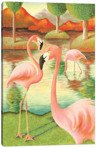 Flamingos by Antoinette Kelly Canvas Art Print