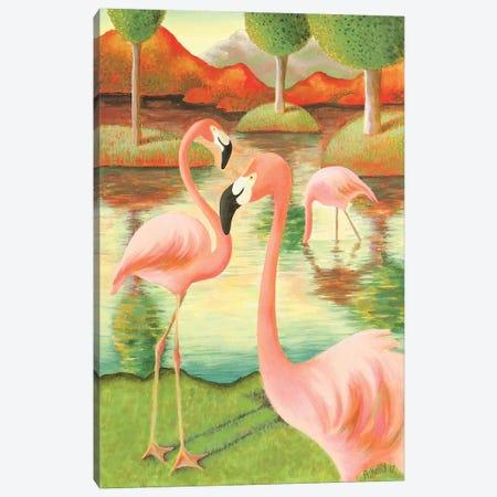 Flamingos Canvas Print #AKE8} by Antoinette Kelly Canvas Wall Art
