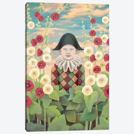 Harlequin And Hollyhocks Canvas Print #AKE9} by Antoinette Kelly Canvas Art