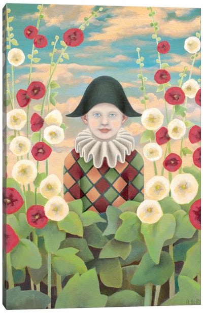 Harlequin And Hollyhocks Canvas Art Print