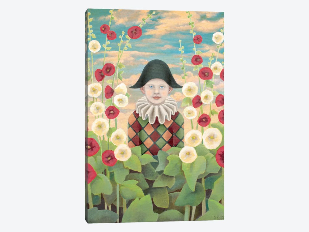 Harlequin And Hollyhocks by Antoinette Kelly 1-piece Canvas Artwork