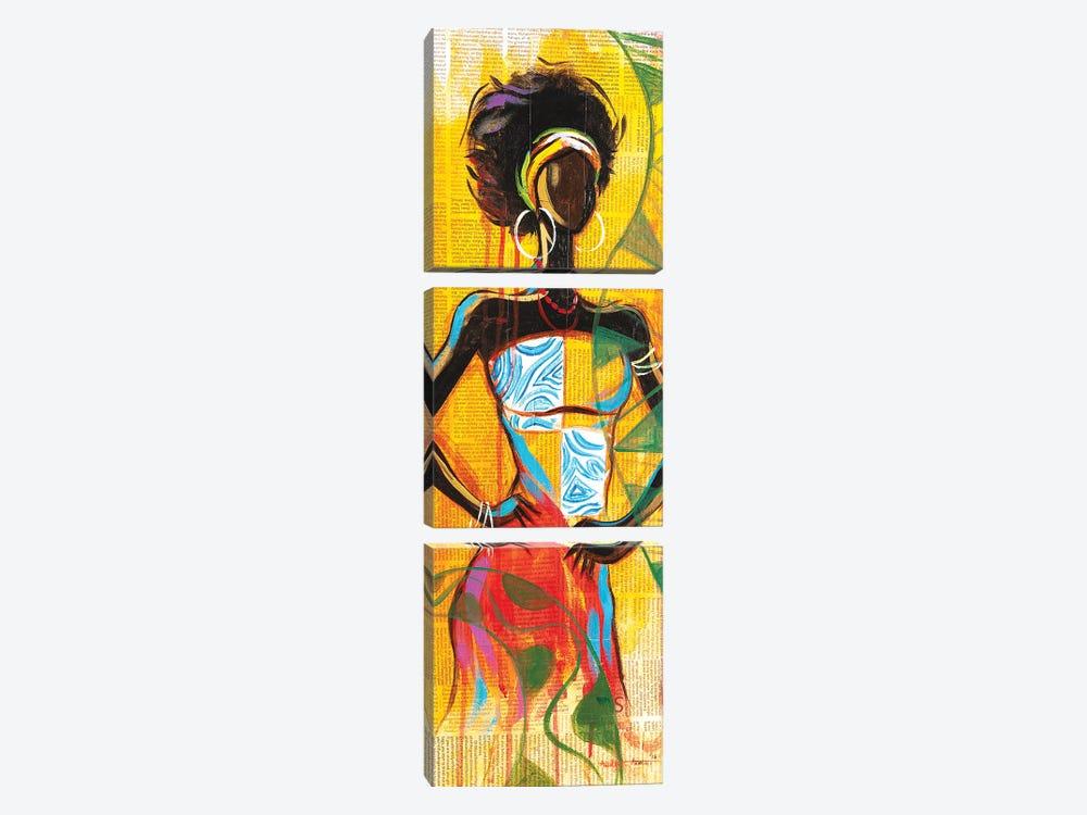 African Lady by Akintayo Akintobi 3-piece Canvas Wall Art