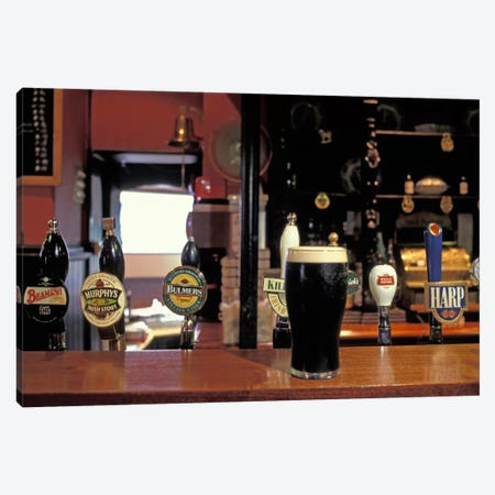 Glass Of Stout On The Bar, The Old Stand, Dublin, Republic Of Ireland Canvas Print #AKL1} by Alan Klehr Canvas Art Print