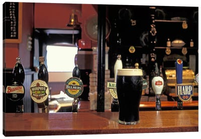 Glass Of Stout On The Bar, The Old Stand, Dublin, Republic Of Ireland Canvas Print #AKL1