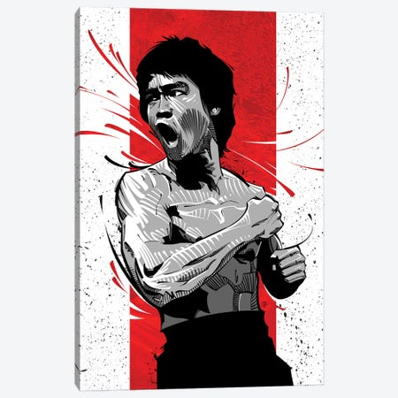 Bruce Lee Red Canvas Print #AKM117} by Nikita Abakumov Canvas Print