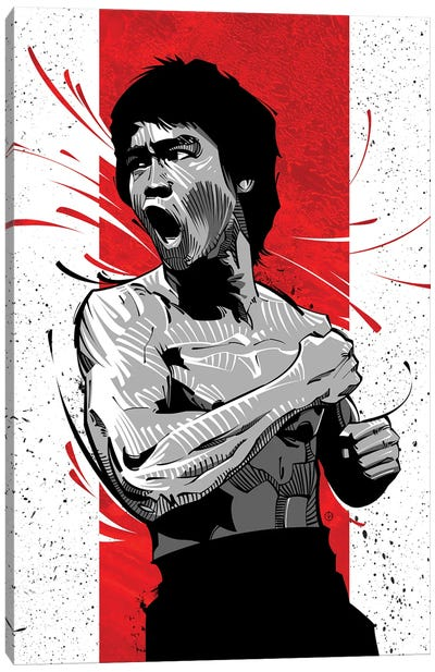 Bruce Lee Red Canvas Art Print