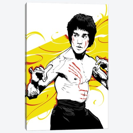 Bruce Lee Yellow Canvas Print #AKM118} by Nikita Abakumov Canvas Artwork