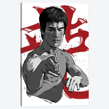 Bruce Lee Fight Canvas Print #AKM119} by Nikita Abakumov Canvas Artwork