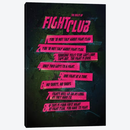 Fight Club Rules Canvas Print #AKM23} by Nikita Abakumov Canvas Art Print