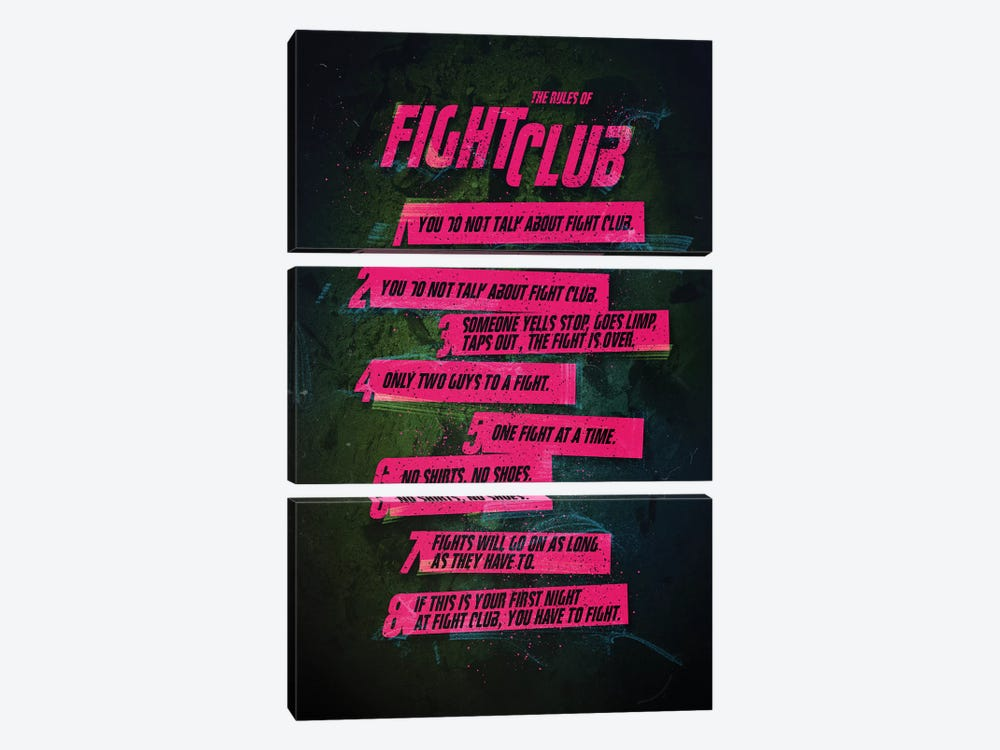 Fight Club Rules by Nikita Abakumov 3-piece Canvas Art Print