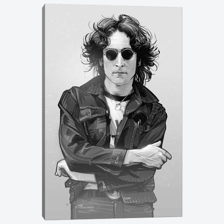 John Lennon In Black And White Canvas Print #AKM35} by Nikita Abakumov Art Print