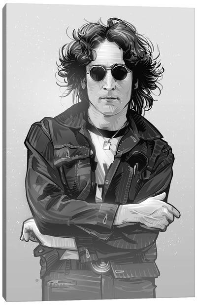 John Lennon In Black And White Canvas Art Print