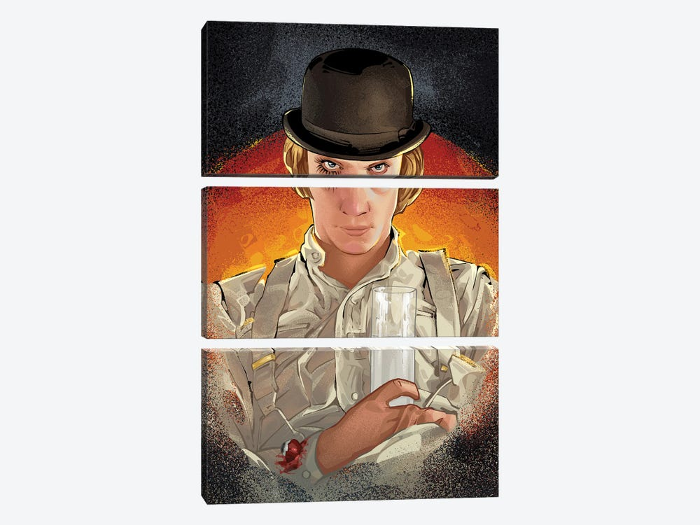 Clockwork Orange Alex by Nikita Abakumov 3-piece Canvas Wall Art