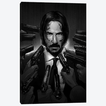 John Wick In Black And White Canvas Print #AKM37} by Nikita Abakumov Canvas Art Print