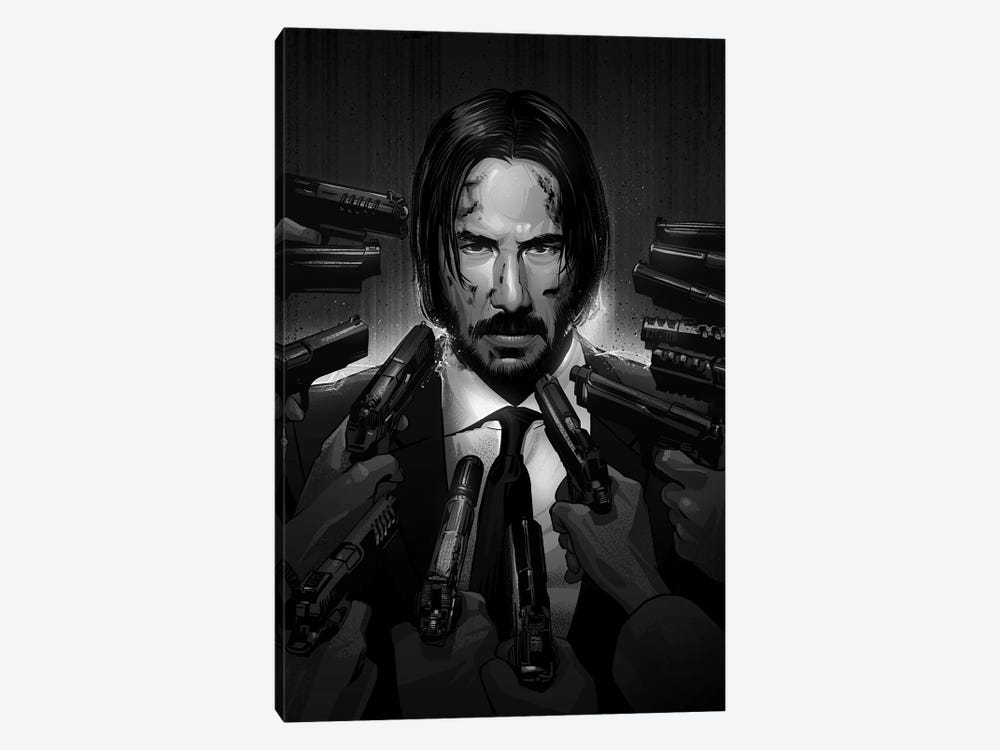 John Wick In Black And White 1-piece Canvas Wall Art