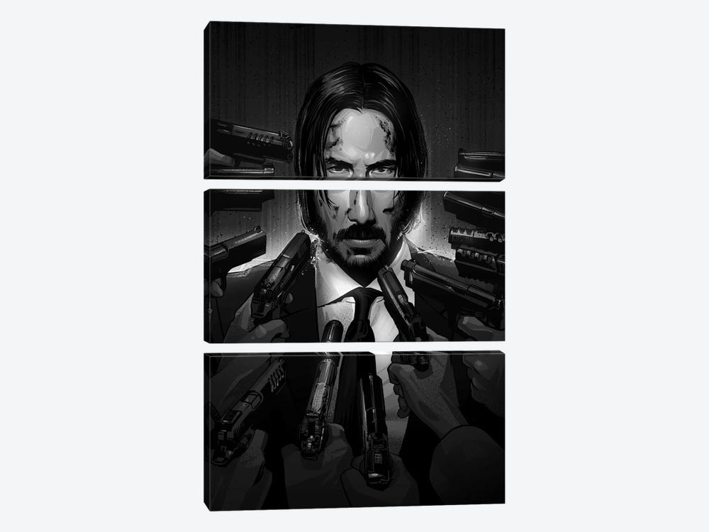 John Wick In Black And White 3-piece Canvas Artwork