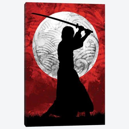 Samurai Moon Red Canvas Print #AKM401} by Nikita Abakumov Canvas Wall Art