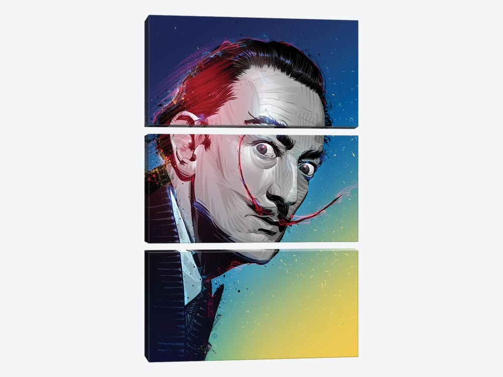 Salvador Dali by Nikita Abakumov 3-piece Canvas Art