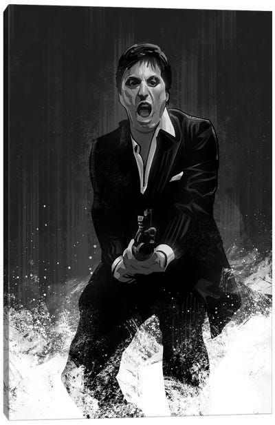Scarface In Black And White Canvas Art Print