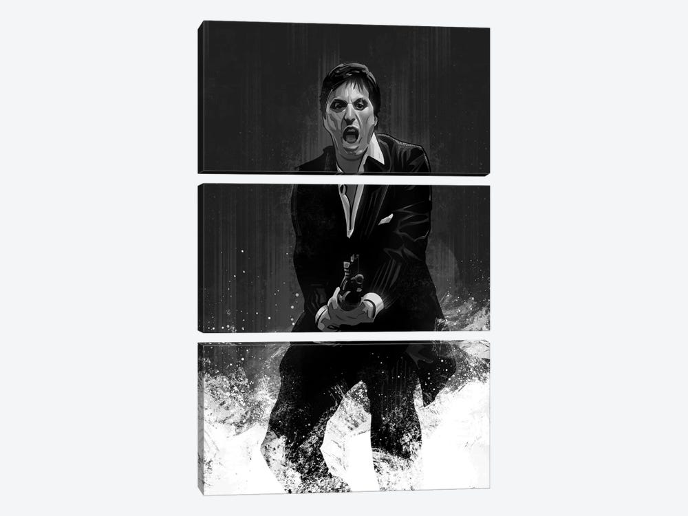 Scarface In Black And White by Nikita Abakumov 3-piece Canvas Print