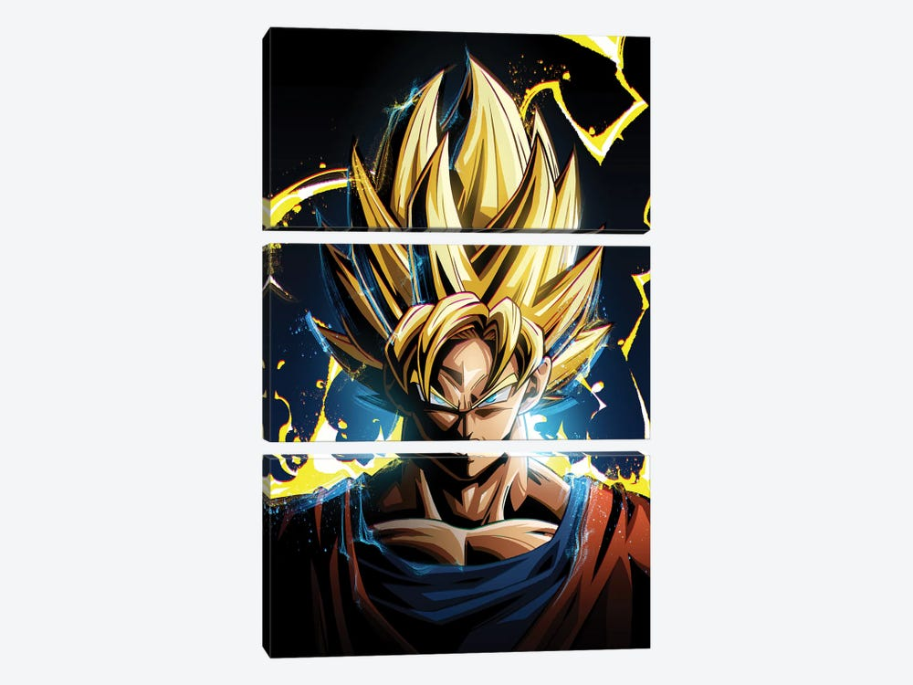 Super Saiyan Goku by Nikita Abakumov 3-piece Canvas Artwork