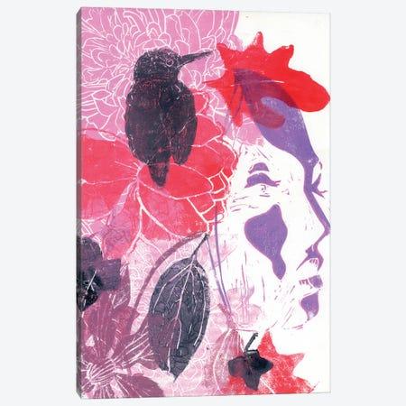Girl With Bird Canvas Print #AKS107} by Andrea Kosar Canvas Artwork