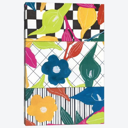 Abstract Stripes And Flowers Canvas Print #AKS10} by Andrea Kosar Canvas Artwork