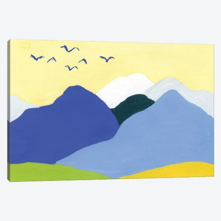 Landscape: Mountains And Birds In Blue And Yellow Canvas Print #AKS117} by Andrea Kosar Canvas Print