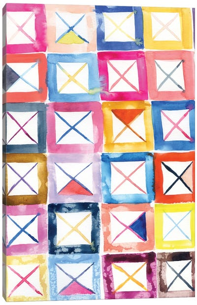 Abstract Pattern: Colorful Squares Canvas Art Print