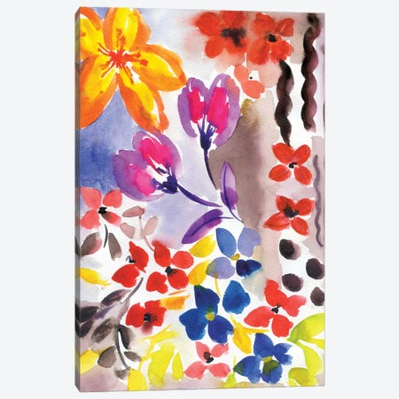 Loose Abstract Flowers Canvas Print #AKS123} by Andrea Kosar Art Print