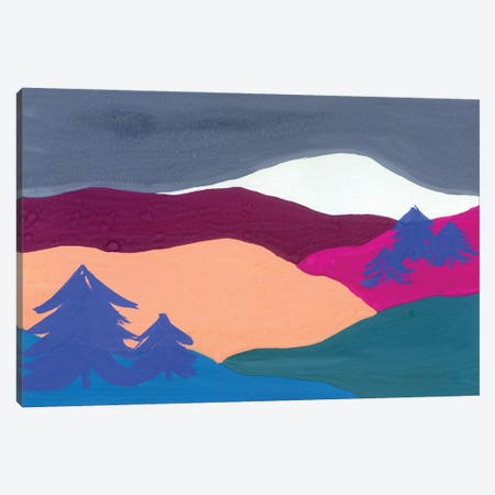 Landscape: Mountains And Blue Trees Canvas Print #AKS126} by Andrea Kosar Canvas Wall Art