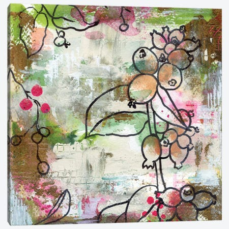 Mixedmedia Snowberry Canvas Print #AKS127} by Andrea Kosar Canvas Art