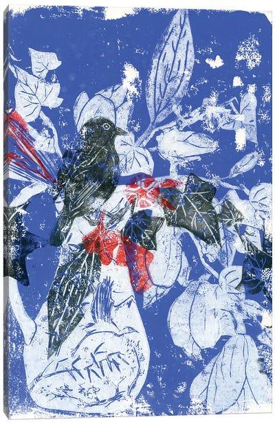 Magnolias In China Vase With Bird Canvas Art Print