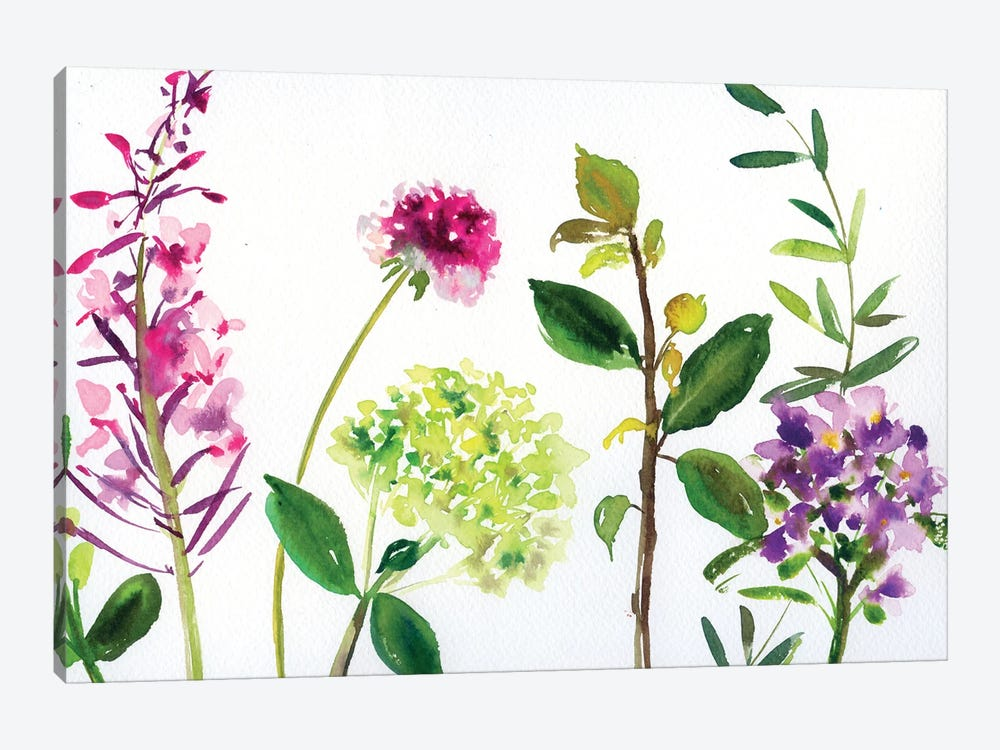 7 Branches: Flowers And Leaves by Andrea Kosar 1-piece Canvas Artwork