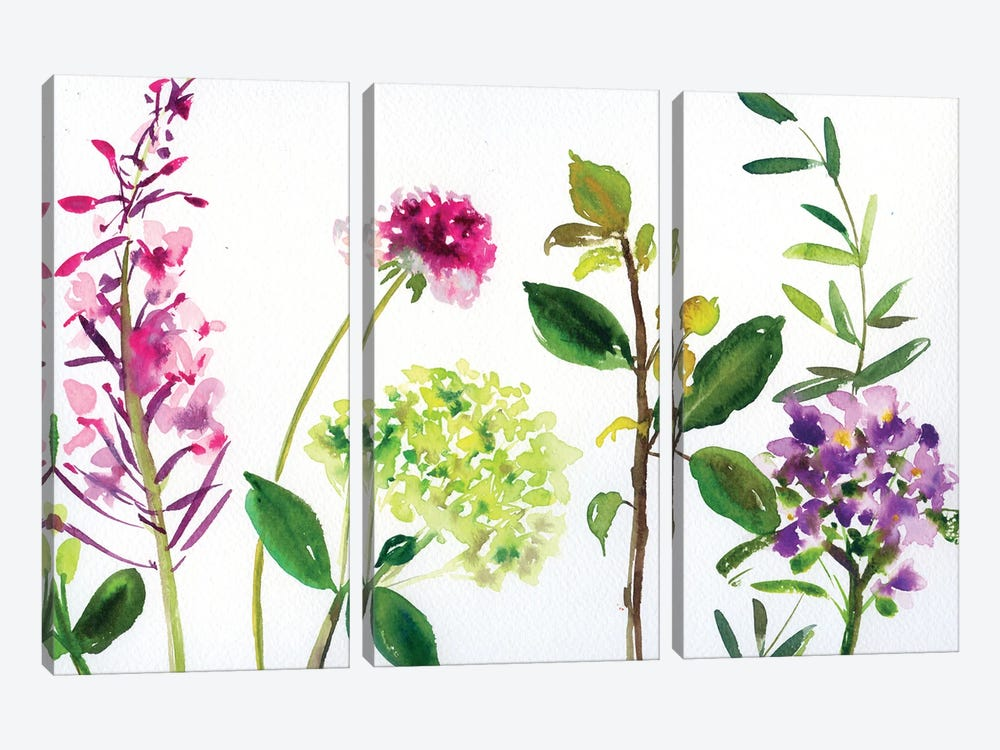 7 Branches: Flowers And Leaves by Andrea Kosar 3-piece Canvas Art