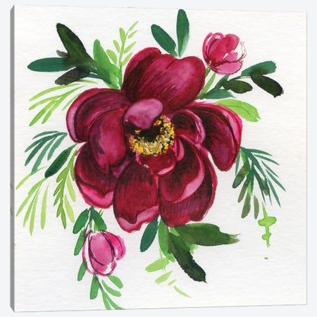 Pretty Peony Canvas Print #AKS150} by Andrea Kosar Canvas Art