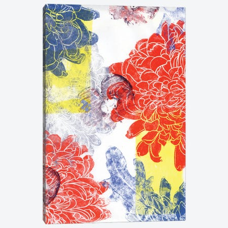 Red And Blue Dahlias With Apples. Printmaking Canvas Print #AKS153} by Andrea Kosar Canvas Wall Art
