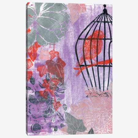Stuck In The Moment With Red Bird: Linocut Canvas Print #AKS181} by Andrea Kosar Art Print