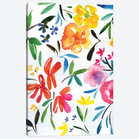 Watercolor Floral Pattern: Abstract Flowers Canvas Print #AKS196} by Andrea Kosar Canvas Art Print