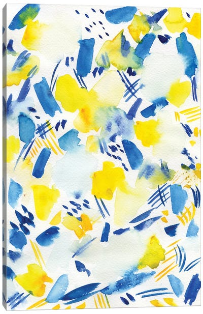 Blue & Yellow Watercolor Abstract Canvas Art Print