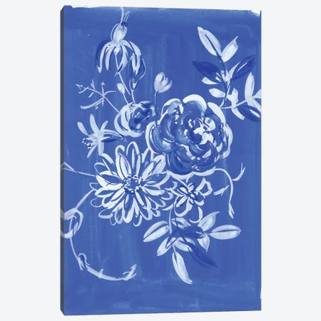Blue And White Floral Composition Canvas Print #AKS20} by Andrea Kosar Art Print
