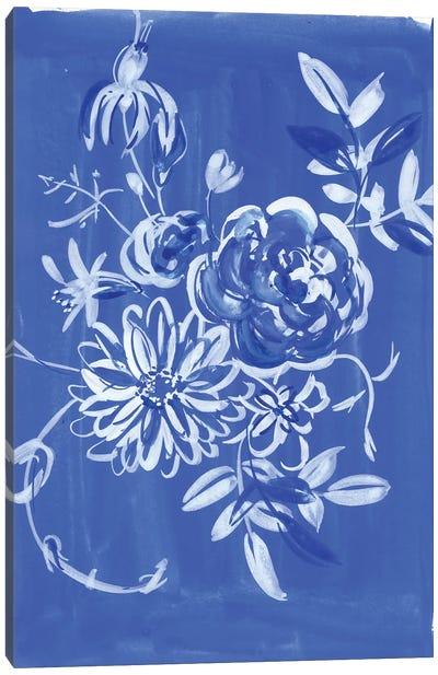 Blue And White Floral Composition Canvas Art Print