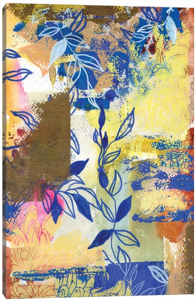 Blue And White Leaves In Abstract I Canvas Art Print