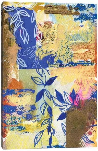 Blue And White Leaves In Abstract II Canvas Art Print