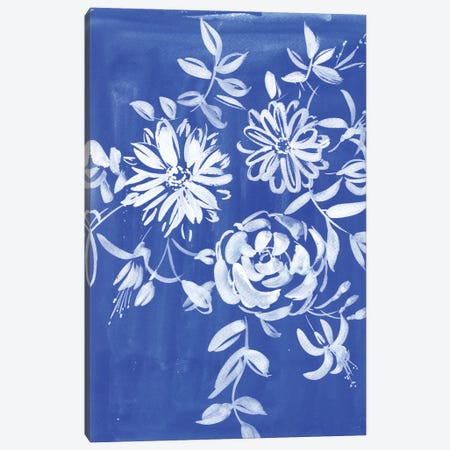 Blue And White Flowers Canvas Print #AKS27} by Andrea Kosar Canvas Art
