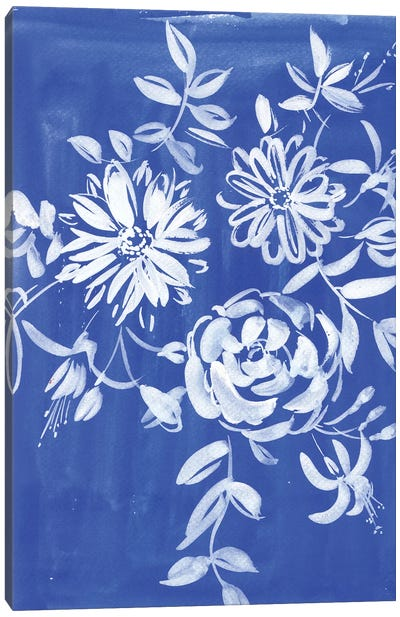 Blue And White Flowers Canvas Art Print