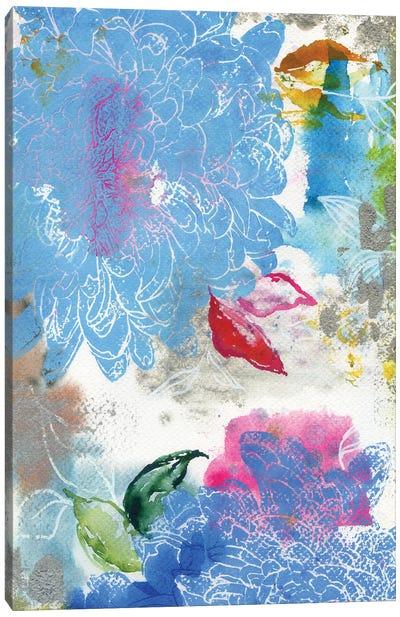 Blue Dahlias In Abstract Canvas Art Print
